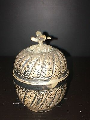 MID VICTORIAN ANTIQUE 900 SILVER TEA CADDY  marked: 900 AG