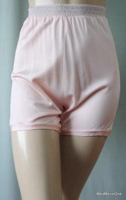 SMEDLEY VINTAGE SILKY SOFT PINK RAYON LACE WAIST CUFF LEG PANTIES KNICKERS Med o