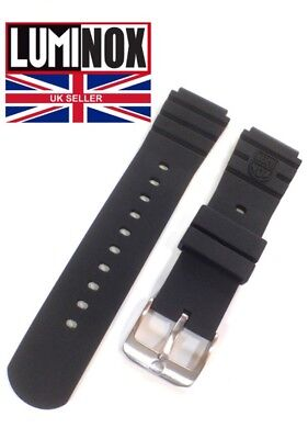 LUMINOX 22mm Series 3000 Watch Strap BLACK RUBBER Solid Stainless Buckle LOGO UK