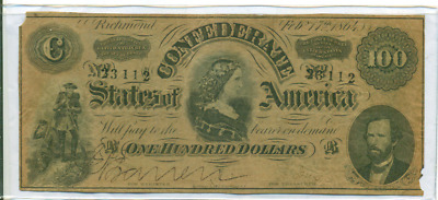 Authentic 1864 $100 Confederate Currency Csa Civil War