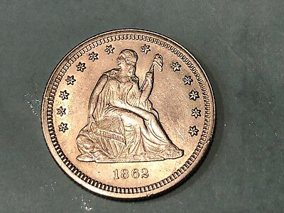 1862 Seated Liberty Quarter , Nice Choice AU++ Civil War Date! HARD TO FIND!