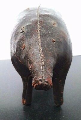 Very rare and old vintage small dark choclate brown omersa leather pig