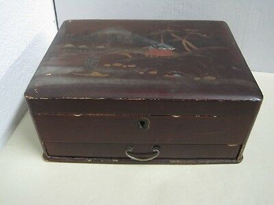 Antique Chinese Lacquer Sewing Box with Chinese motifs