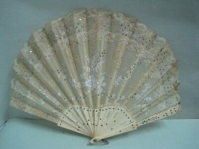 Antique hand-painted fan on silk and sequins