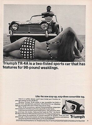 1965 Triumph TR 4A Easy Down Convertible Top Woman Polka Dot Bikini Man Beach Ad