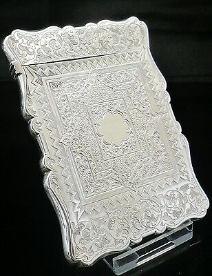 Antique Silver Card Case, Birmingham 1860, Aston & Son.