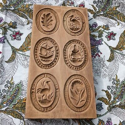 """Antique carved WOOD Dutch COOKIE BUTTER MOLD Press Speculaas folk 4x7.5"""""""