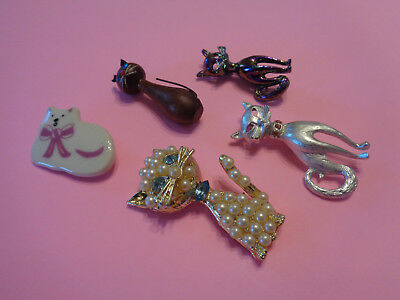 Lot of 5 Vintage Cat Brooches / Pins. Pearl, Ceramic, Wood, Metal