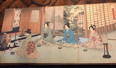 "Antique Japanese WOODBLOCK triptych ""Tea Ceremony"" Asian art"