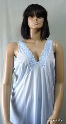 SIESTA VINTAGE STYLE SHEER SOFT SKY BLUE NYLON FULL SLIP - XXL UK 26 - NEW     h