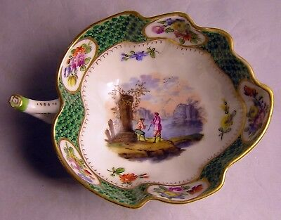 Herend/Ungvar ? Hand Painted Candy Leaf Dish Flowers FISHING LAKE SCENE