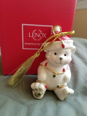 New Lenox Very Merry Porcelain Christmas Ornament Teddy Bear. Make An Offer!