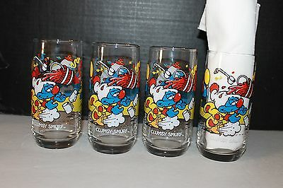 RARE 1983 HARDEE'S  SMURFDAY PARTY GLASSES 4 Clumsy SMURF set