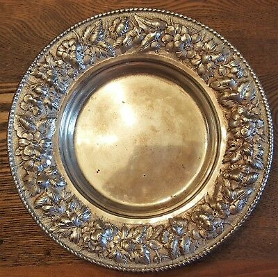 """Antique American Makers Sterling Repousse 8"""" Plate Bigelow Kennard Co 341 Grams"""