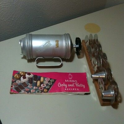 Vintage Mirro Aluminum Cooky Cookie Press 12 Discs 2 Tips And Recipes