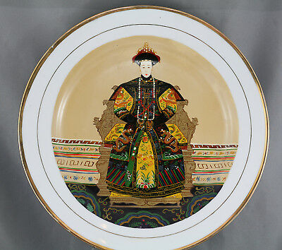 Vintage Intricate  Original Chinese Oil Painting On Porcelain Plate Circa 1982
