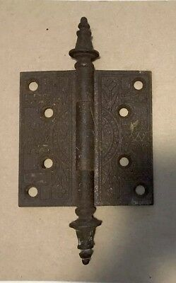 ANTIQUE EASTLAKE VICTORIAN STEEPLE TIP Door Hinges 4 x 4 Cast Iron Steel