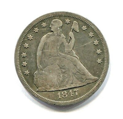 1847 LIBERTY SEATED SILVER DOLLAR low mintage