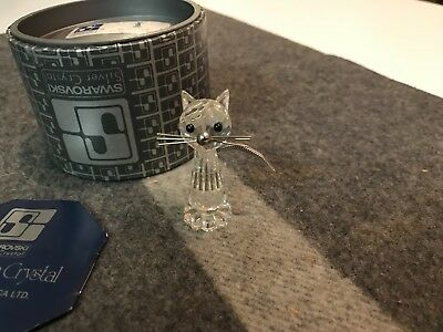 "SUPERB 2"" Swarovski CRYSTAL CAT FIGURINE in MINT CONDITION IN BOX WITH COA"