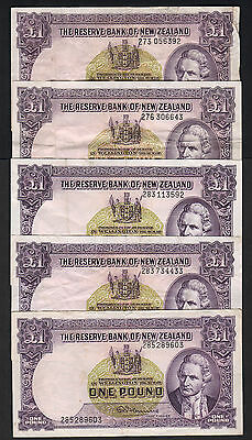 NEW ZEALAND P-159d. 1 Pound (1956-67). Fleming signature x 5 Notes.. VF-aEF