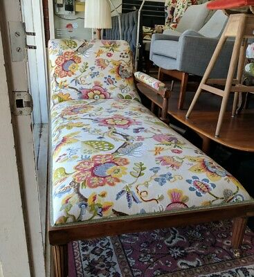 Antique Floral Chaise Lounge Recovered