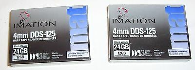 2 x Imation 4mm DDS-125 DDS3 12/24GB data cartridge tapes Media Recognition