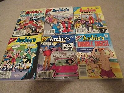 Lot of 6 Archie Digests, Archie Double Digests, 182 and 68 Included