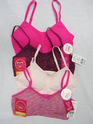 4 MAIDENFORM GIRL $36 SEAMFREE CROP BRAS Remove Pad Girl Large L 10 / 12 32A 34A