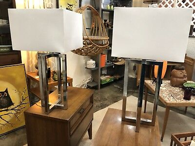 Pair Of Chrome Lamps With Shades