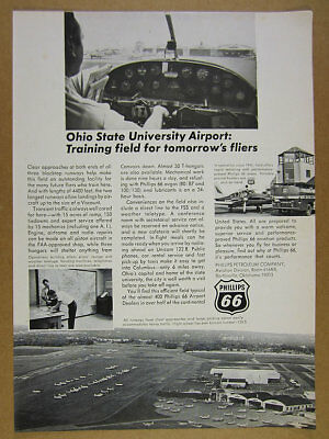 1967 OSU Ohio State University Airport photos Phillips 66 vintage print Ad