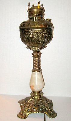 Bradley & Hubbard Embossed Brass Victorian Banquet Lamp with Unusual Wick Raiser
