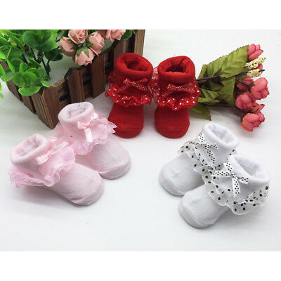Toddlers Combed Cotton Ankle Socks Baby Girls Lace Bowknots Socks Solid