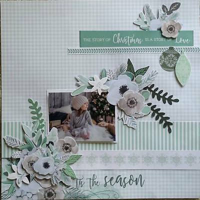handmade premade scrapbook page layout 12 X 12 - T'is the Season