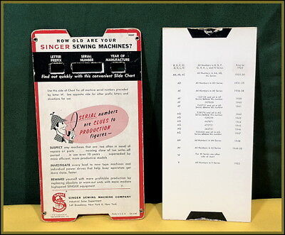 Rare~Vintage Singer Sewing Machine ~ Slide Card Serial Number Dating Guide