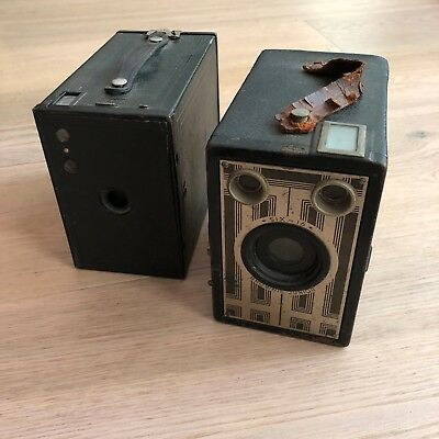 2 X Vintage Kodak Brownie Box Cameras - Six-16 Brownie Junior & No. 2A Brownie