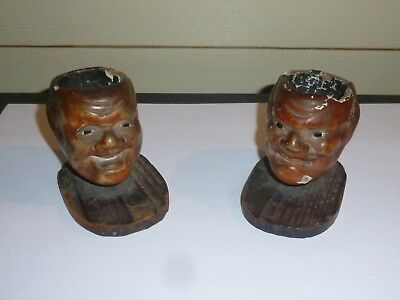 A Pair of Antique Chinese Mans Head Inkwells/Paint Pots? 19th C