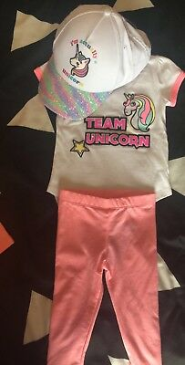 Toddler Kids Girls Unicorn Tops T'Shirt Pants Hat Outfits Set Clothes size 0-5