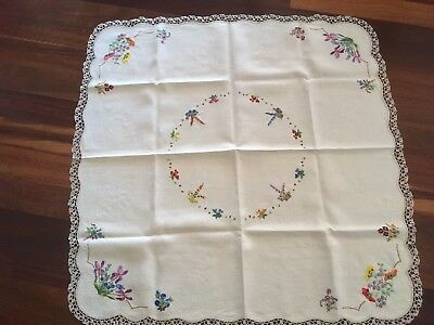 Gorgeous vintage embroidered pure linen flower garland supper tablecloth exc