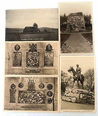 Five Vintage Postcards Military Culloden, Scottish War Memorial, Earl Haig statu