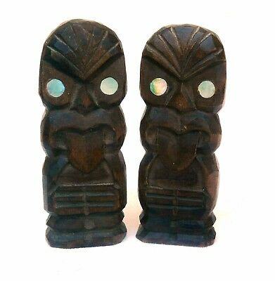 Two Maori hand carved Tikis from New Zealand