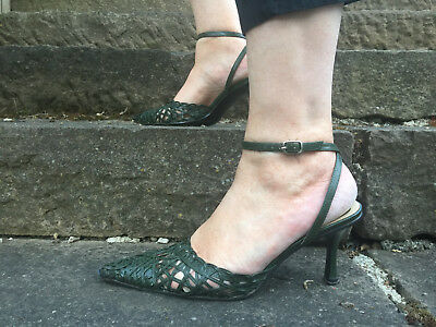 Zoe Wittner Designs Shoes, Dark Green Leather Heels - elegant ankle strap 38.5