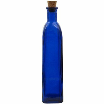 """9 3/4"""" Tall Cobalt Blue Rectangle Recycled Glass Bottle 13oz"""