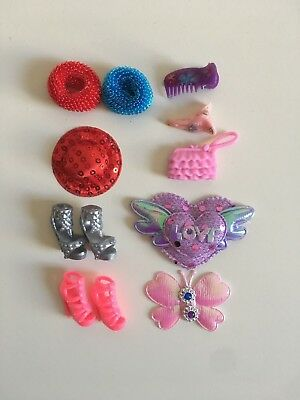 Barbie Doll Accessories set shoes hat hair clip band butterfly girls 10 pcs set