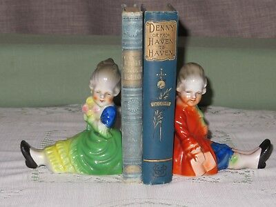 Antique Vintage Erphila Victorian boy and girl porcelain bookends