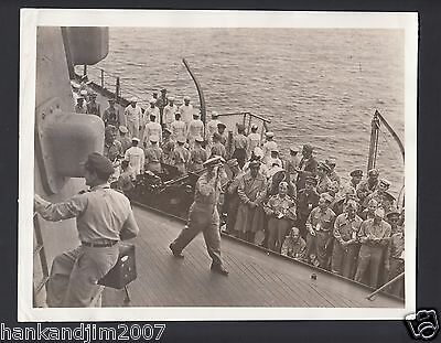 Vintage US Army Photo Lot of 2 WW2 on USS Missouri Japan Surrenders Gen McArthur
