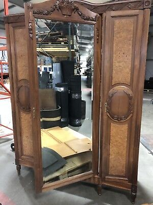 French Gentleman's Antique Armoire Wardrobe Mahogany and Walnut
