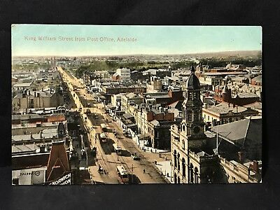 Antique Postcard KING WILLIAM ST FROM PO, ADELAIDE Coloured Photo Valentine