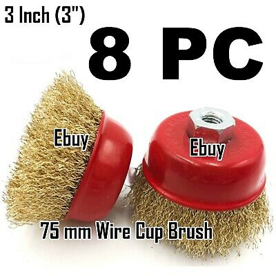 "8 PC 3"" x 5/8"" Arbor FINE Crimped Wire Cup Wheel Brush - For Angle Grinders"