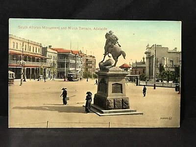 Antique Postcard STH AFRICAN MONUMENT & NORTH TERRACE ADELAIDE Photo Valentine