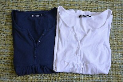 2 x Ninth Moon Maternity Tops - White and Navy - Size M